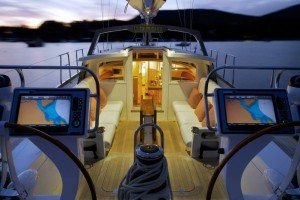 Cockpit of Isobel at twilight, boat built by Brooklin Boat Yard
